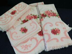 VTG pink TOWEL set floral ROSES fringe 2 Bath 2 Hand 4 Wash Cloths Jayco