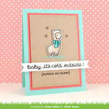 Lawn Fawn clear acrylic stamps & matching die - WINTER ALPACA