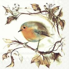 4 x Single Paper Napkins/3 Ply/Decoupage/Christmas/Winter Robin