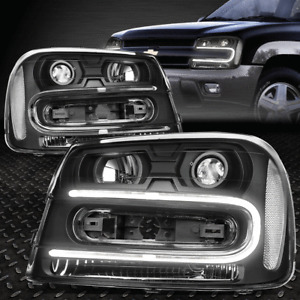 [LED DRL] FOR 2002-2009 CHEVY TRAILBLAZER PAIR BLACK CLEAR PROJECTOR HEADLIGHT