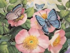 Vintage 1986 Hamilton Collector Plate Butterfly Garden Common Blue Pink Flowers