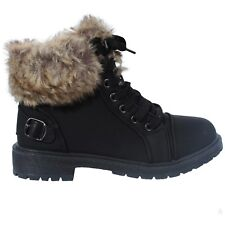 Ladies Womens Faux Fur Grip Sole Winter Warm Ankle BOOTS Trainers Shoes Size 3-8 Black UK 6 EU 39