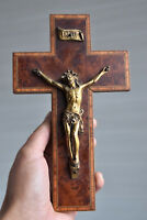 ⭐ vintage French wall cross, crucifix ,marquetry⭐