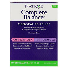 Natrol Complete Balance for Menopause AM & PM 30 + 30 Caps Relieves Hot Flashes