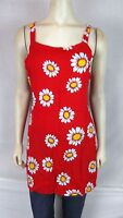Bali Girl Red White Daisy Cover Beach Tunic Top Dress Women's Size medium large