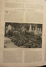 1902 PRINT SAILOR'S GRAVE ~ RESTING PLACE OF THE LATE REAR-ADMIRAL BURGES WATSON