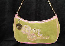 Juicy Couture Green Velour & Pink Leather Daydreamer Bling Hobo Handbag Purse