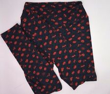 Lularoe OS Leggings Halloween jack-o-lanterns, bats, cats; orange on blu LL126