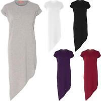 Ladies Asymmetric Slant Hem Baggy Oversized Longline Turn-Up T-Shirt Dress Maxi