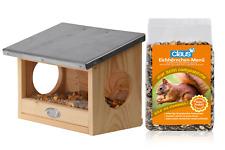 Futterhaus Eichhörnchen + Futter Menü Nüsse Früchte Gemüse Haus Holz Zink Zink