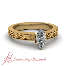 Solitaire Marquise Cut Natural Diamond Engraved Milgrain Engagement Ring 0.80 Ct