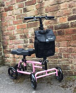 Vive Knee Walker Steerable Pink Scooter for Foot/ Leg Injuries, Inc. Bag, Unused