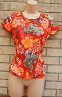NEXT ORANGE TERRACOTTA FLORAL SHORT SLEEVE COTTON SUMMER BLOUSE TOP SHIRT 6