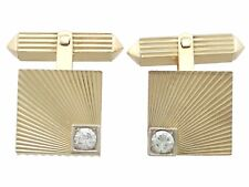 Vintage 0.52 ct Diamond and 18Carat Yellow Gold Cufflinks - Circa 1960