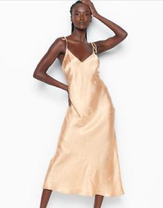 Victorias Secret Satin Sleep Long Slip Dress Nightgown Pajama XLarge Cream