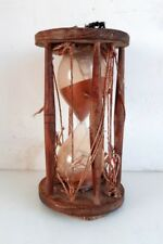 Vintage Old Collectible Hand Crafted Glass & Wooden Made 60 Min Sand Clock Watch