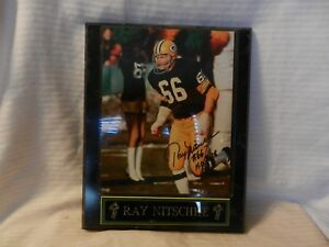 Ray Nitschke Green Bay Packers Signed Photograph on Wood Frame with Name Plate