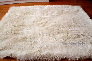 5'x8' warm white rectangle faux fur rug flokati sheepskin rug  SC Love
