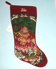 "Sferra Needlepoint Stocking Monogrammed Name ""Lila"" Doll Under Tree Handmade New"