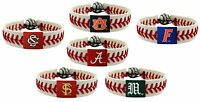 NCAA College Classic Leather Baseball Bracelet - Pick Team