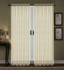 """SET OF 2 SHEER VOILE TAILORED CURTAINS 63"""" LONG IVORY BONE BEIGE"""