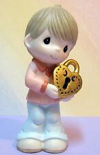 PRECIOUS MOMENTS BOY HOLDING LOCK ~ YOU HOLD THE KEY TO MY HEART ~ 113044 ~ NIB