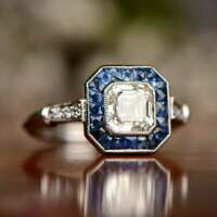 Vintage Art Deco Engagement Ring Sapphire Halo 14K White Gold Over 2.3Ct Diamond
