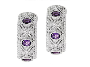 Judith Ripka Sterling 0.95cttw Amethyst and 3/10  Diamonique J-Hoop Earrings QVC