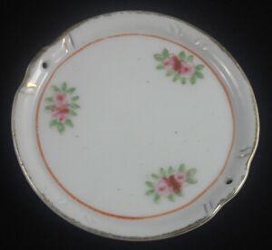 Ancienne assiette miniature percée—Blanc et doré—Fleurs—Made In Occupied Japan