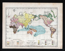 1873 Guyot Physical World Map Races of Men Humans Africa Europe Asia America