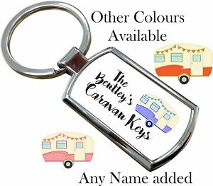 Personalised Caravan Metal Keyring Key Ring With Gift Box Christmas Birthday