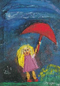 Postkarte: Philip Nelson - Kleines Mädchen mit rotem Regenschirm