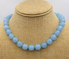 12mm Blue Aquamarine Round Gemstone Necklace 18'' Tibetan silver love clasps