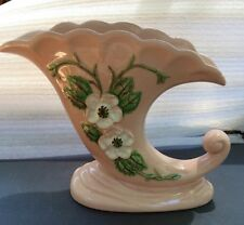 "Hull Art USA Pottery, R-13 8 1/2 Pink Rosella Cornucopia  6 3/4"""