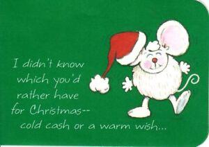 Jolly Christmas Cash Mouse In Santa Hat Green Money Holder By Hallmark