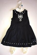 NWT Carter's 24 Months Black Embroidered Sleeveless Dress & Ivory Tights