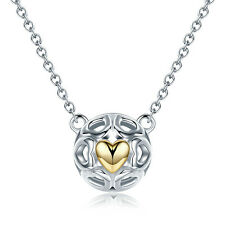 European Authentic 925 Sterling Silver 14K gold Heart Charm Pendant Necklace