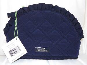 VERA BRADLEY Small Ruffle Cosmetic Case - Classic Navy Blue Microfiber - NWT