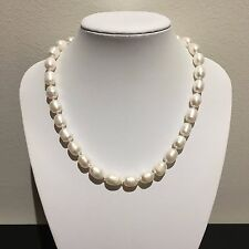 Genuine White Cultured Freshwater Pearl Bead Necklace