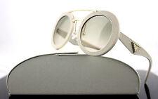 $700 Genuine PRADA MILANO Ornate Saffiano Cuir Leather Sunglasses SPR 15S UFP3H2