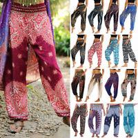 Men Women Indian Baggy Gypsy Harem Pants Yoga Cotton Floral Boho Loose Trousers