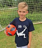 PERSONALISED  KIDS COTTON T-SHIRT WITH FOOTBALL PLAYER AND ANY TEXT YOU WANT TOP