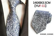 Silver and Navy Blue Patterned Handmade 100% Silk Tie