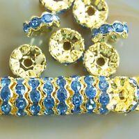 100Pcs Czech Crystal Rhinestone Wavy Rondelle Spacer Beads 4mm 6mm 8mm 10mm