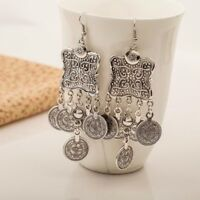 Boho Gypsy Beachy Ethnic Tribal Drop Earrings Silver Turkish carving Coin Floral