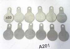 "60 pcs Stainless Steel Blank Tag Flat Round Nametag, 1-3/8"" x 2.25"""