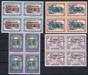 $$ wholesale $ HONDURAS 1965 WINSTON CHURCHILL blk of 4 MNH CV$36.40 WWII, NOBEL
