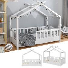 VITALISPA Kinderbett Hausbett DESIGN 70x140 Weiß Zaun Kinder Holz Haus Hausbett