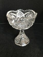 Vintage Depression Compote Candy Pressed Pinwheel & Hobstar Sawtooth Glass B3O
