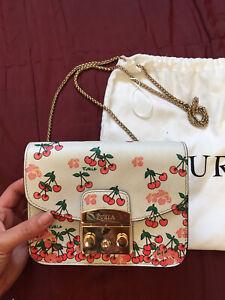 Auth Furla Metropolis cherry print mini shoulder bag / clutch w gold chain strap